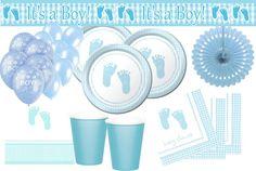 XXL Baby Füßchen in Blau Babyshower Set für einen Jungen.