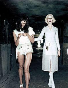 """Karolina Kurkova und Crystal Renn photographed by Steven Klein for Interview Magazine, """"Strict Institution""""-Editorial"""