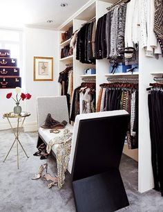 Closet design.     From Supermodels to the Fashion Elite: How to Decorate Like an It Girl Slide 2