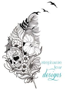 Customizable Tattoo design, Feather / Flower / etc.