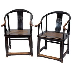 Excellent Pair of 17th Century Ming Dynasty Chinese Horseshoe Round Back Chairs | 1stdibs.co ➕More Pins Like This At FOSTERGINGER @ Pinterest✖️