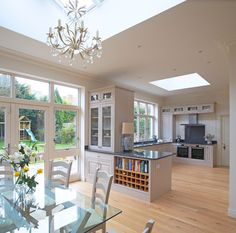 Counter Between Kitchen And Dining Design Ideas, Pictures, Remodel and Decor Open Plan Kitchen Dining Living, Living Room Kitchen, Diy Kitchen, Kitchen Design, Long Kitchen, House Extension Design, House Design, Extension Ideas, Natur House