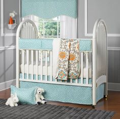looking for bumper less crib bedding we adore liz mester mester mester and roo fine baby beddings aqua greek key bedding that is sans bumpers and baby furniture for less