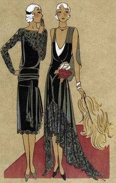 Art Déco - Illustration - Femmes Années 20  Like the sleeves on the right dress. Also the varied length.
