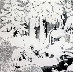 Tove Jansson black and white Moomin ink illustration