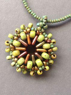 Beth Stone Designs. Seed bead woven pendant
