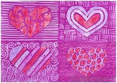 Patterned hearts like Jim Dine