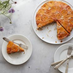 Vegan Apricot Upside-Down Cake  This flavorful vegan cake is the perfect way to use up your summer fruit bounty.