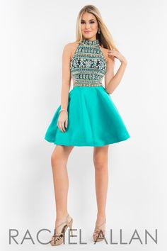 Rachel Allan 4219 Black/Teal Homecoming Dress