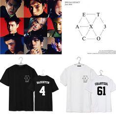 k pop KPOP EXO K M Album EX'ACT CHANYEOL BAEKHYUN T Shirt K-POP 2016 Fashion Classic Cotton Clothes Short Sleeve T-shirts DX324