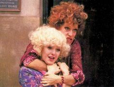 "Carol Burnett and Bernadette Peters filming the original ""Easy Street"" sequence of Annie, 1981."