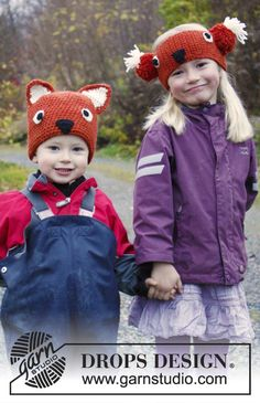 "Crochet DROPS fox hat in ""Nepal"". Size: 3-12 years ~ DROPS Design"