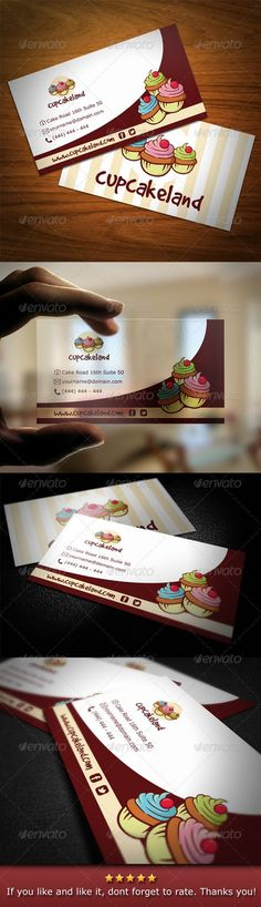 Cupcake Backery Business Card — Vector EPS #corporate #bakery • Available here → https://graphicriver.net/item/cupcake-backery-business-card/2972960?ref=rabosch