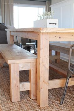 large farmhouse table seats and adds great rustic charm to your dining room. See more photos and project details at This large farmhouse table seats and adds great rustic charm to your dining room. See more photos and project details at Farmhouse Table Plans, Farmhouse Dining Room Table, Diy Dining Table, Dining Room Bench, Dining Table Design, Table Seating, Patio Table, Dining Rooms, Farm Table Diy