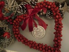 Gorgeous Jingly Red Bells in a heart shape with red velvet ribbon and a vintage style hand stamped Clay Disc. £8 + £2 p&p Available from www.facebook.com/henryoscarandme Velvet Ribbon, Red Velvet, Vintage Style, Vintage Fashion, Handmade Crafts, Hand Stamped, Heart Shapes, Christmas Wreaths, Merry