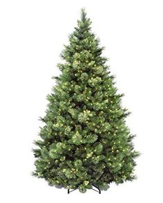 "Measures 7.5 ft. tall with 59"" diameter Pre-strung with 750 UL listed clear lights Flocked pinecones"