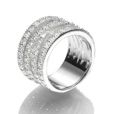 R005017 - Pavé Cubic Zirconia and Sterling Silver Crisscross Ring