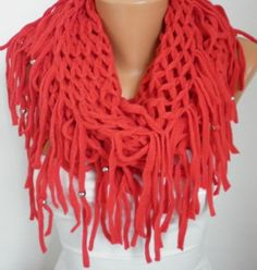 Red  Infinity Scarf Loop Scarf Circle Scarf by fatwoman,