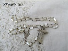 Mother of pearl rosary 1930's by Nkempantiques on Etsy