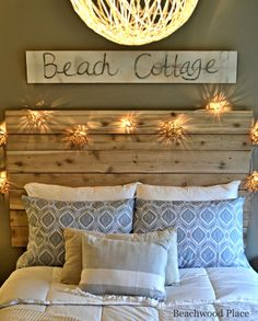 Beach Theme Guest Bedroom with DIY Wood Headboard, Wall Art, and Lots of Annie Sloan Chalk Paint http://beachblissliving.com/guest-bedroom-diy-wood-headboard/