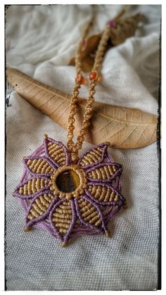 macrame necklace flower pendant purple and yellow necklace