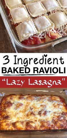 3 Ingredient Ravioli Bake (A. Lazy Lasagna) 3 Ingredient Ravioli Bake (A. Easy Casserole Recipes, Casserole Dishes, Easy Dinner Recipes, Easy Meals, Potluck Recipes, Italian Recipes, Beef Recipes, Cooking Recipes, Tuscan Recipes