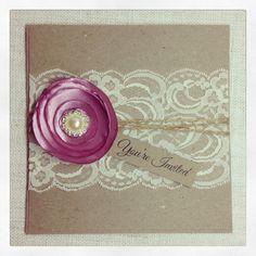 40 x Rustic Wedding Invitation with satin flower - Rustic Vintage Romance Square Invitation