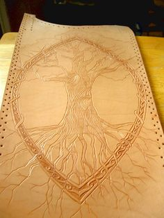 Yggdrasil  tree of life  tooled leather by twistedtreestudio, $225.00