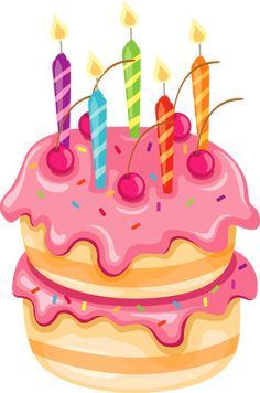 Pink Cake with Candles PNG Clipart