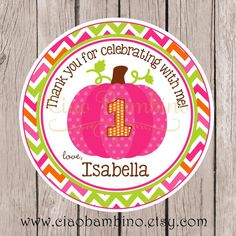 Pink Pumpkin Birthday Party Favor Tags or Stickers by ciaobambino