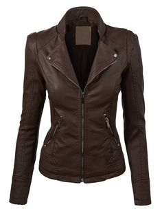 MBJ WJC821 Womens Perforated Faux Leather Jacket XS COFFEE