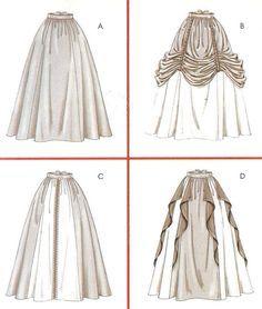 Renaissance historical costume skirts - McCalls sewing pattern - Size 14-20