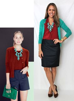 an interesting color combo... black/navy with teal and maroon...