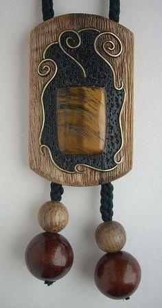 Галстук-боло из дерева с тигровым глазом - галстук-боло,инкрустация,украшения