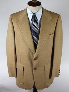 Joshua Trent Coffees Blazer Sport Coat size 44R 100% Camel Hair Vintage 1977 #JoshuaTrent #TwoButton