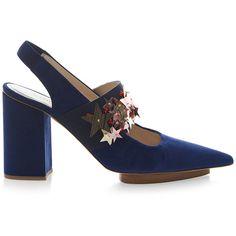 DELPOZO Stars Slingback Sandal ($900) ❤ liked on Polyvore featuring shoes, sandals, heels, decorating shoes, embellished heeled sandals, block-heel shoes, slingback shoes and heeled sandals