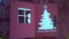 """Mit Liebe gemacht von Petra Heinrich. Weihnachten/Christmas. Der Engel ist von Alexandra Renke, der Baum von Marianne Design und das Fenster von Stampin up """"Trautes Heim""""."""