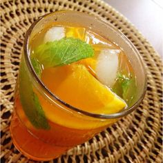 Thirst quencher sparkling orange ice tea.