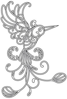 Satin stitch swirls and curls intersect in this magical hummingbird design. Embroider onto apparel, decor, and more! Downloads as a PDF. Use pattern transfer paper to trace design for hand-stitching.