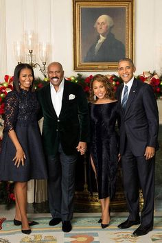 President Barack Obama and First Lady Michelle Obama with Steve and his wife, Marjorie Harvey White House 2016 Michelle Und Barack Obama, Michelle Obama Fashion, Barack Obama Family, Black Celebrity Couples, Black Couples, Celebrity Pics, Black Celebrities, Celebs, Couple Noir