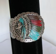 COWGIRL Bling BRACELET INDIAN Native Warrior Silver stretch GYPSY WESTERN our prices are WAY BELOW RETAIL! all JEWELRY SHIPS FREE! www.baharanchwesternwear.com baha ranch western wear ebay seller id soloedition