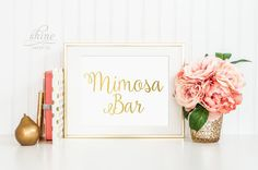 Mimosa Bar Wedding Sign Bridal Shower Bachelorette Party Alcohol Cocktail Champagne Vow Decor Personalized Gold Silver Pink Foil Print Art