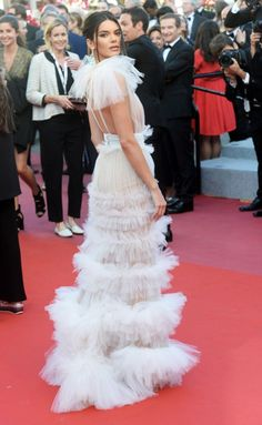 Kendall Jenner in sheer Schiaparelli Haute Couture gown at the Girls of the Sun during the 2018 Cannes Film Festival on Saturday (May in Cannes, France. Jessica Chastain, Zuhair Murad, Blake Lively, Celebrity Dresses, Celebrity Style, Christian Dior, Jenner Girls, Haute Couture Gowns, Saab