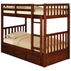 Discovery World Furniture Weston Twin over Twin Bunk Bed with Built-In Ladder and Optional Storage