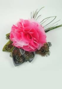 Pink Peony Flower Clip--Style # 1055. silk, peacock & pheasant feather
