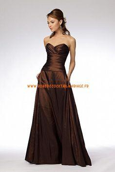 Robe bustier pas cher 2013 chocolat A-line robe de soirée taffetas