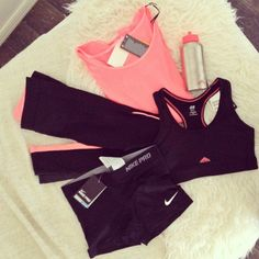 I just black & pink gym apparel. This combination of workout gear and accessories fit my style!