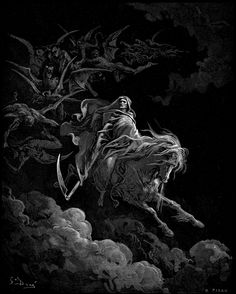 "thetorchoflucifer: "" Gustave Dore - Death upon the pale horse (1865) """