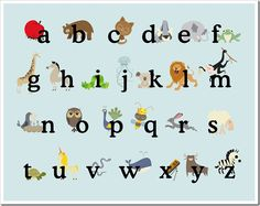 free printable ABC poster based on a similar idea I& seen posted on Ohdeedoh - multiple posters to print including numbers to match alphabet Cute Alphabet, Alphabet Print, Animal Alphabet, Alphabet Posters, Alphabet Party, Animal Letters, Alphabet Blocks, Abc Poster, Free Printable Art