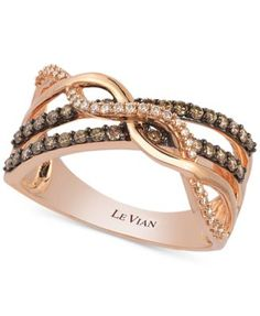Le Vian Chocolate and White Diamond Crossover Ring in 14k Gold (3/8 ct. t.w.) - Rings - Jewelry & Watches - Macy's